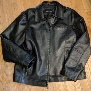 GUESS black faux leather biker jacket